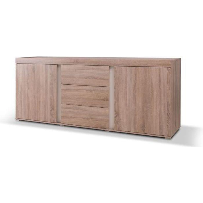 PRICE FACTORY - Buffet, bahut,enfilade AVIGNON coloris sonoma finition blanc. Meuble design pour salon, salle à manger
