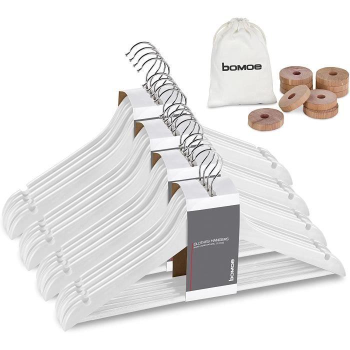 bomoe Cintres Bois Blanc - Lot de 20 Cintres Bois Adulte certifiés FSC®, pivotant de 360°, Barre en Bois antiglisse avec encoches d'