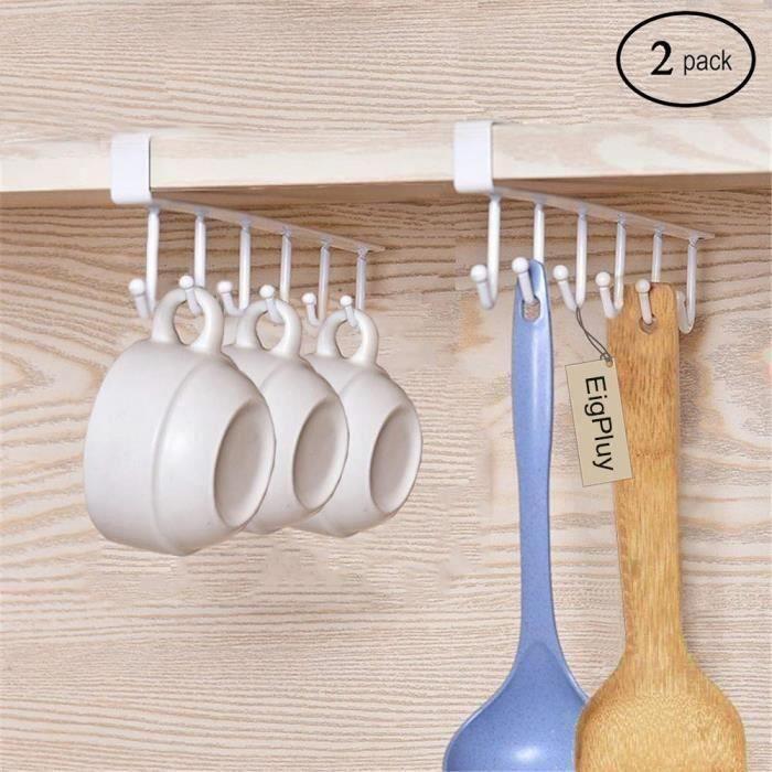2PCS Crochet sous Placard Cabinet Tasses à vin Verres de Rangement Crochets Ustensiles de Cuisine Cravates Accrocher porte-rack