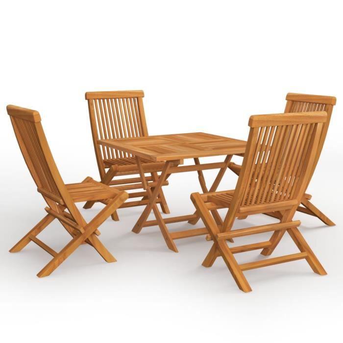 INGSHOP© Salon de jardin 5 pcs Bois de teck massif parfait pour le camping en plein air ou le pique-nique