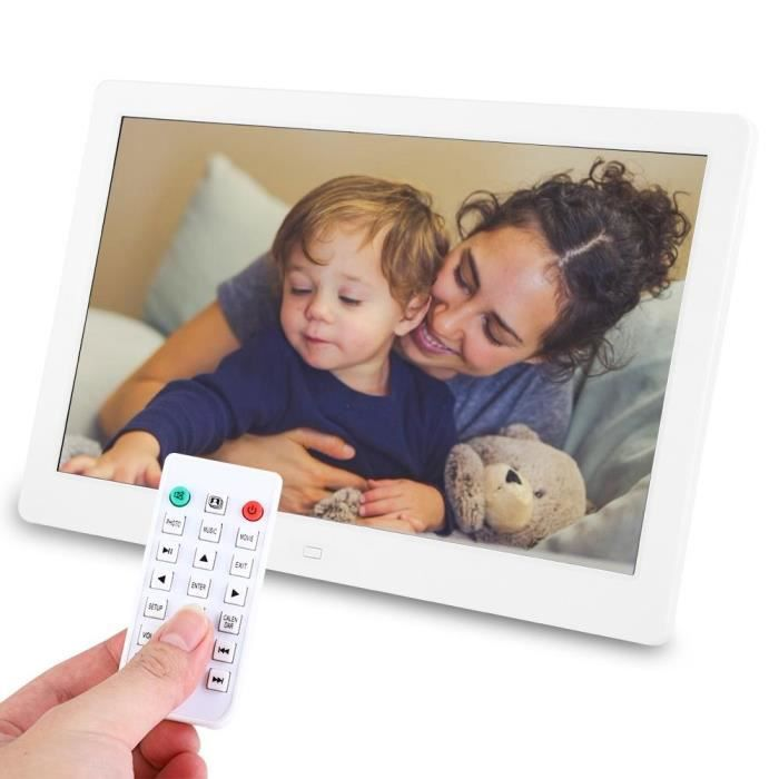Tbest cadre photo d'alarme 13 pouces 1280 * 800HD cadre photo numérique réveil lecteur Album télécommande blanc AU