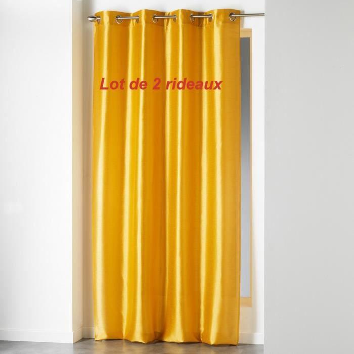 Lot de 2 rideaux a oeillets 140 x 240 cm shantung uni shana Moutarde