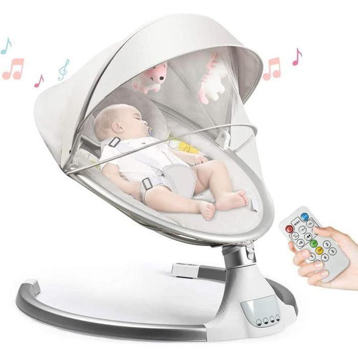 GOPLUS Balancelle Bébé/Transat Électrique avec 5 Amplitudes de Vibrations et Musique,Convient aux Bébé 0 - 6 Mois Jusqu'à 9 KG,Beige