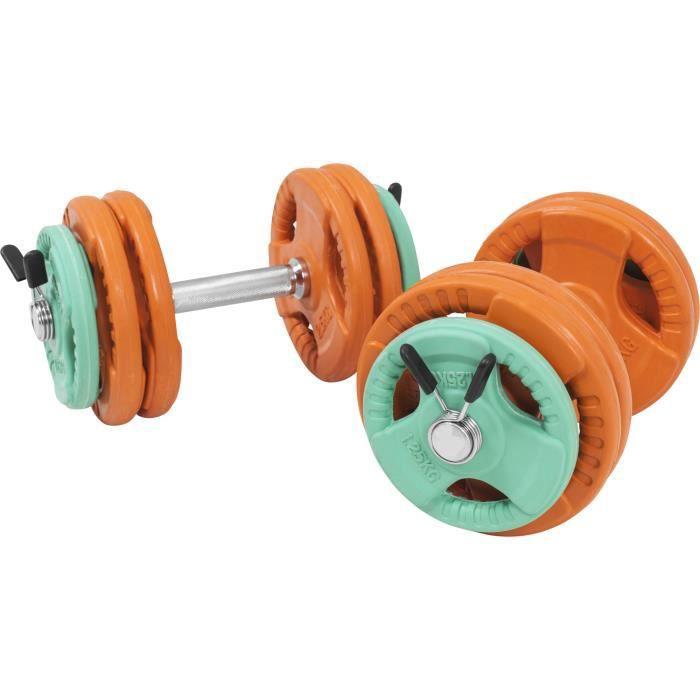Gorilla Sports - 30kg total - kit d'haltères en caoutchouc grip avec 2 barres courtes de 35cm avec stop disques Gris