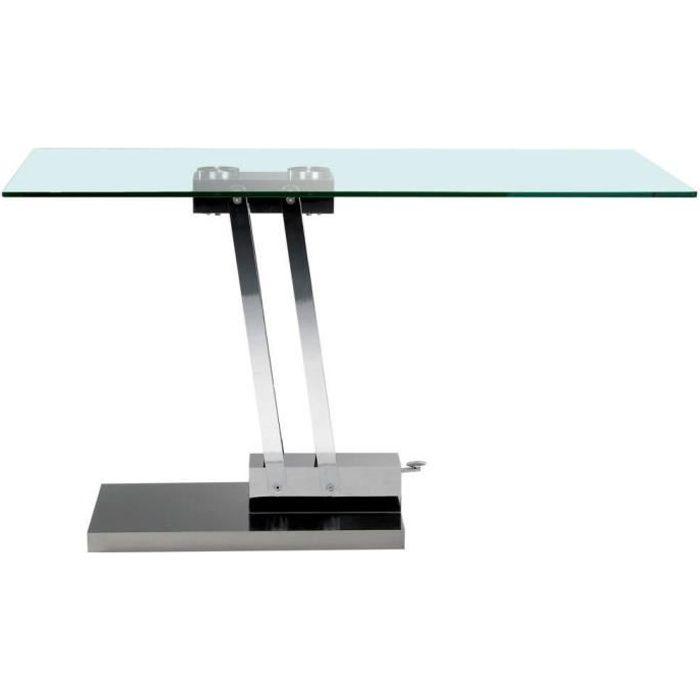 Table basse relevable BRAVO en verre transparent structure chromée - - Inside75