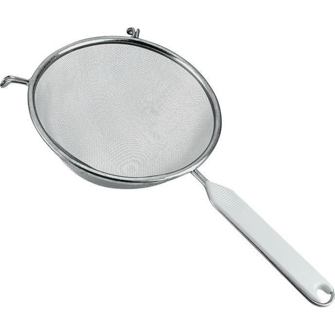 Passoire tamis à manche - D : 18 cm - aluminium et plastique - blanc