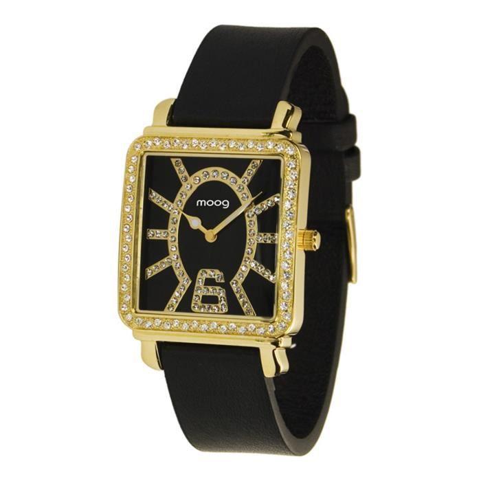 Montre Femme Moog Paris G.T. avec Cadran Noir, Eléments Swarovski, Bracelet Noir en Cuir Véritable - M44972-102