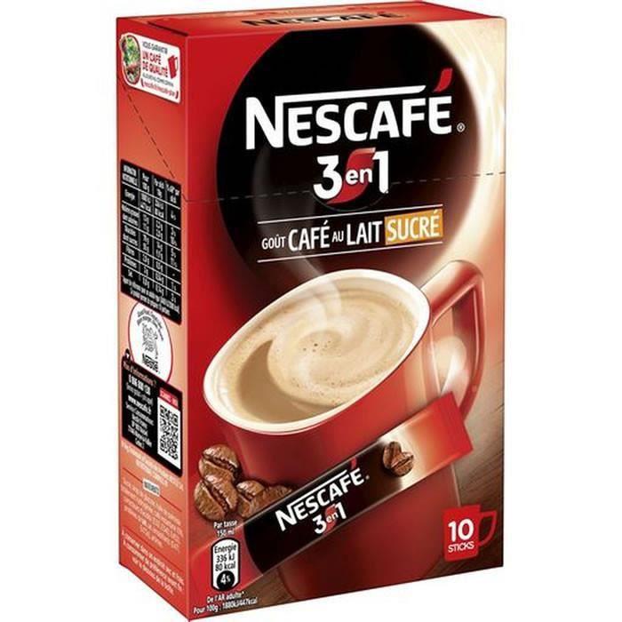 Cafe Moulu - NESCAFE 3in1 Gout Café au lait sucré 10 Sticks 165g