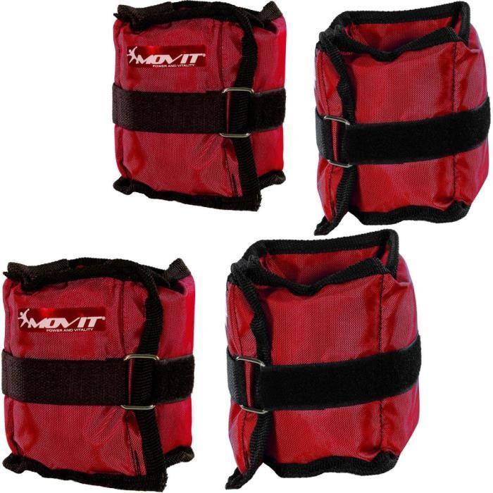 MOVIT Poids de cheville et de poignet rouge 2 x 0,5 kg et 2 x 1,0 kg - 2 paires