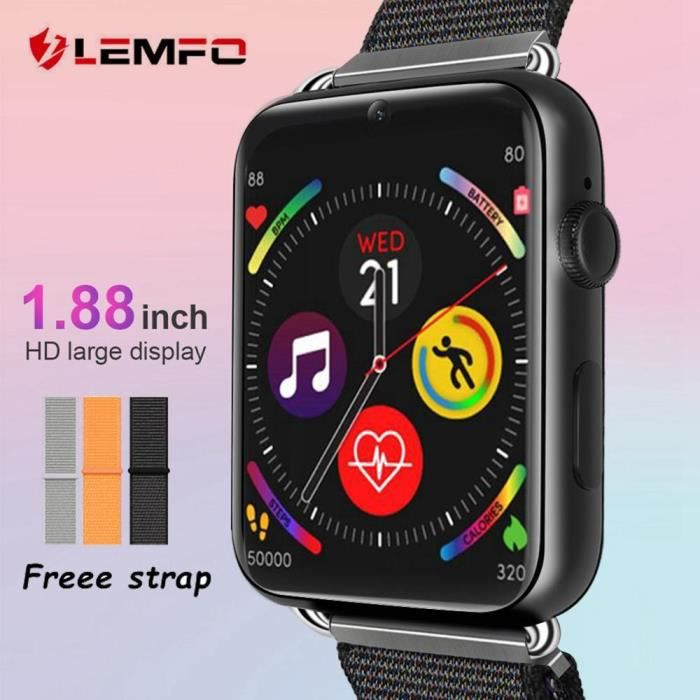 LEMFO LEM10 4G Android 7.1 montre intelligente 3GB + 32GB Support carte SIM caméra 780mAh batterie GPS WIFI 1.88 pouces téléphone mo