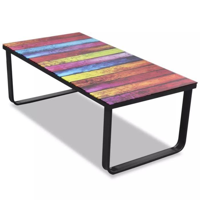 Table basse design scandinave salon contemporain avec impression d'arc-en-ciel Dessus en verre
