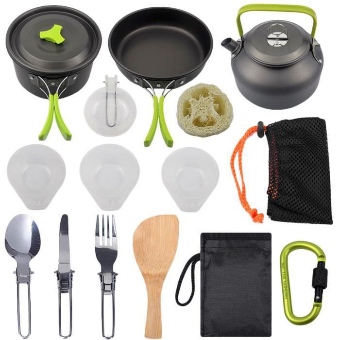 1 ensemble de 15pcs kit de vaisselle de pique-nique en plein air de batterie de cuisine de camping MOUSTIQUAIRE DE LIT