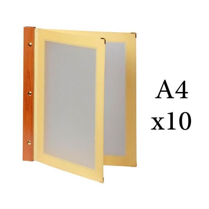 Lot 10 protège menu beige WOOD + 2 inserts format A4 pour hôtel restaurant - Securit 15 Beige