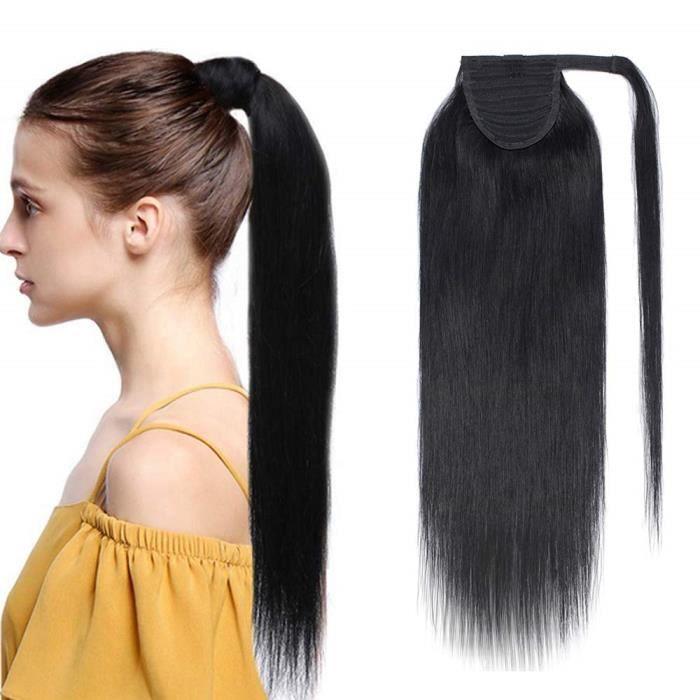 Extension En Queue de Cheval Lisse Cheveux Humain Naturel Clip In Ponytail Extension Wrap Around Facile A Porter - 20 Pouces[#1
