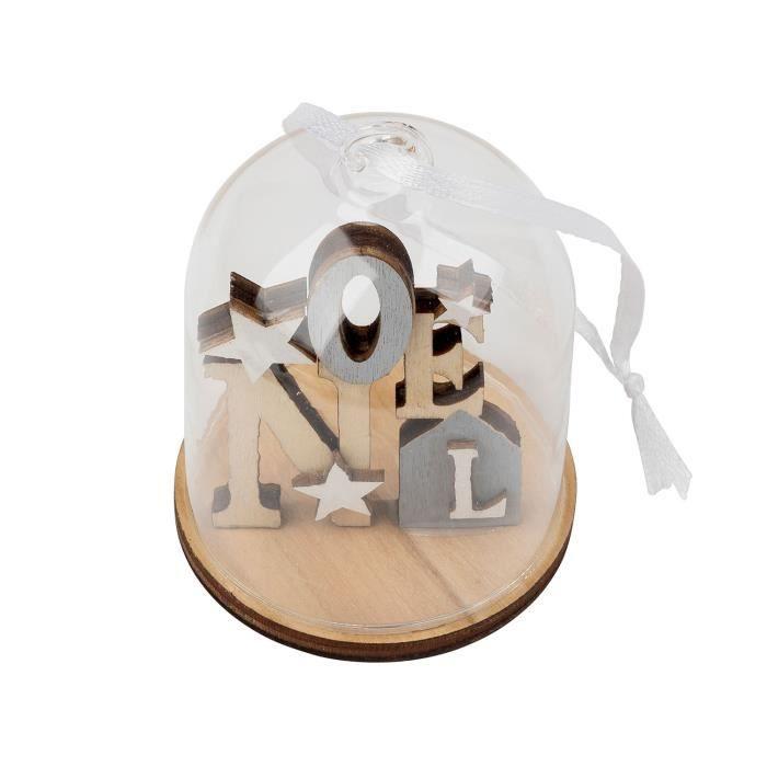Scène de Noel en Bois de décoration à suspendre - Globe en verre - blanc de TRIXES