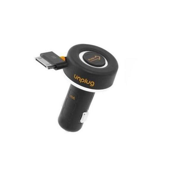 UNPLUG Chargeur allume-cigare pour iPhone / iPod / iPad - avec enrouleur et port USB - Noir