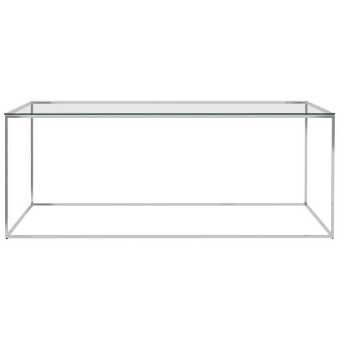 LIS Table basse Argenté 120x60x45 cm Acier inoxydable et verre 3