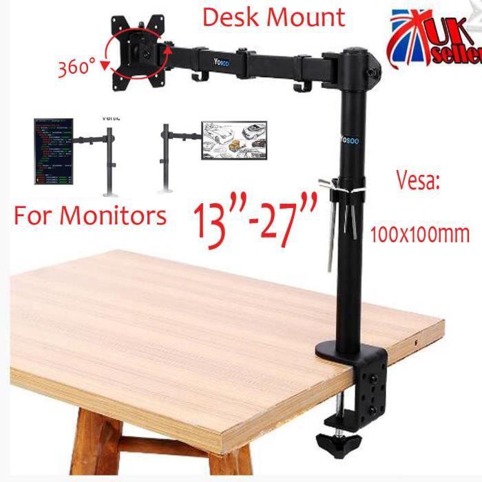 13-27- Single bras Support d'écran LCD Moniteur Montage Rotation bascule Fixation sur table PR bureau - XY FR