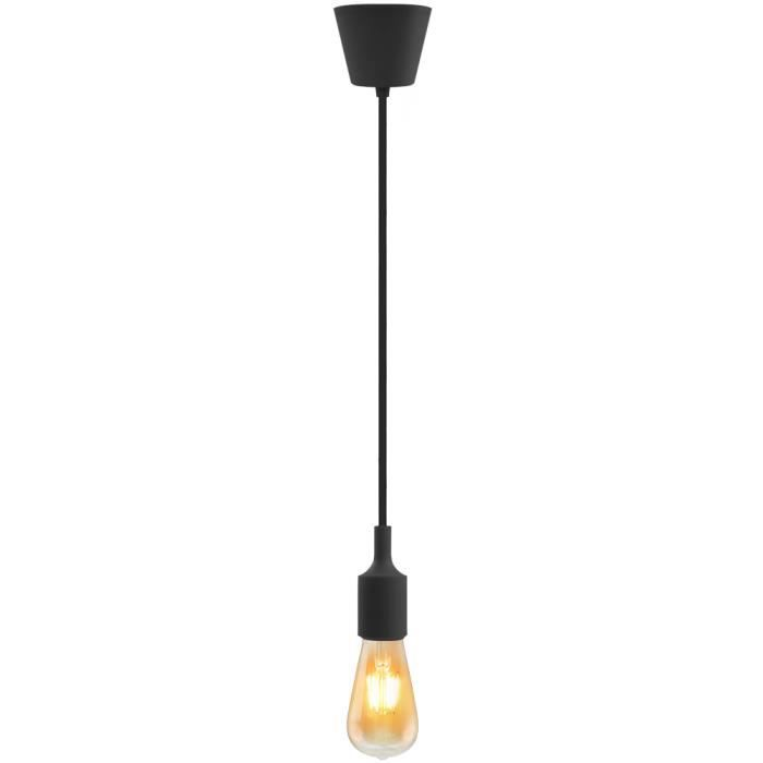 Lampe suspension silicone luminaire suspendu noire couleur for Luminaire suspension ampoule