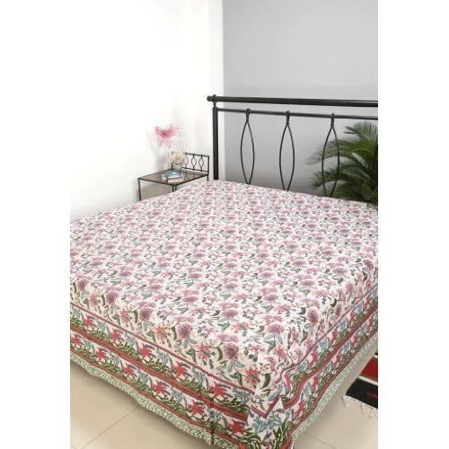ethnique indienne double taille main bloc imprim couvre lit bed sheet achat vente jet e de. Black Bedroom Furniture Sets. Home Design Ideas