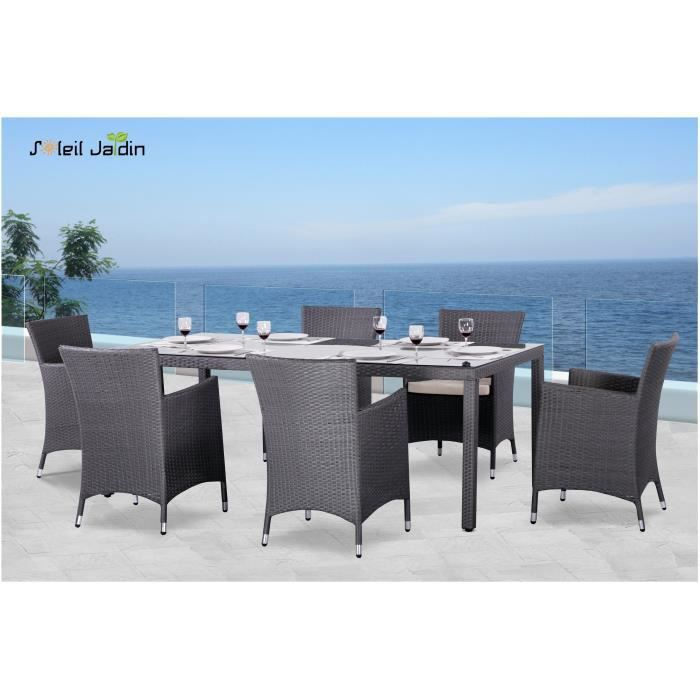 Mobilier de jardin 6 places r sine tress e gris achat for Salon de jardin 6 places