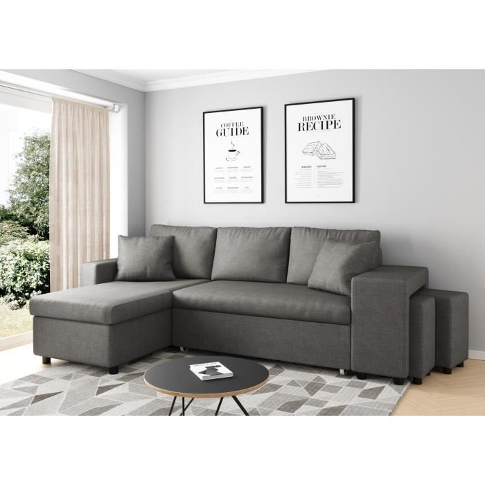 canap d 39 angle gauche convertible gris clair avec coffre et poufs oslo achat vente canap. Black Bedroom Furniture Sets. Home Design Ideas