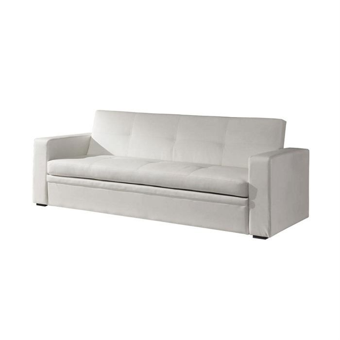 canap lit convertible 3 places cuir blanc smella achat vente canap so. Black Bedroom Furniture Sets. Home Design Ideas