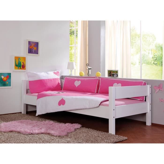 housse de couette rose blanc coeur achat vente housse de couette cdiscount. Black Bedroom Furniture Sets. Home Design Ideas