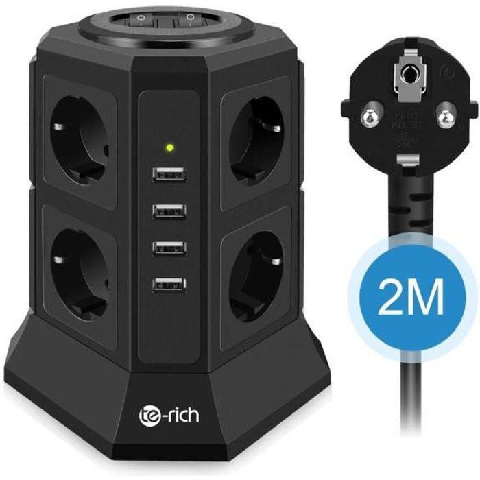 5V //2.4A Interrupteur Tour Multiprises Parasurtenseur Parafoudre,Bloc Multiprise USB avec 6 Prises Multi Prise Tour Adaptateur Douille Cordon de 2m 2500W//10A Electrique et 6Ports USB