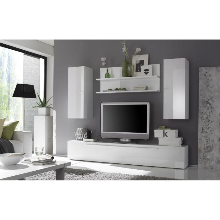 Ensemble meuble tv design laqu blanc brillant achat for Meuble mural laque brillant design