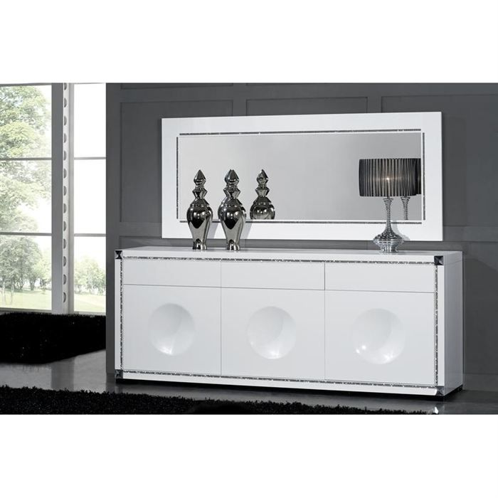 bahut design laque blanc haute brillance achat vente buffet bahut bahut cdiscount. Black Bedroom Furniture Sets. Home Design Ideas