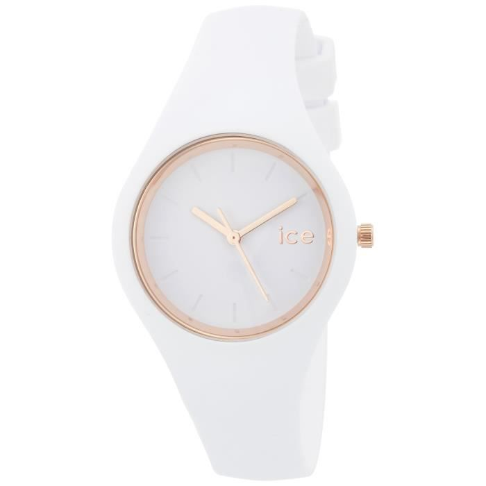 0df8e5910093b Ice-Watch - ICE glam White Rose-Gold - Montre blanche pour femme avec  bracelet en silicone - 000977 (Small)