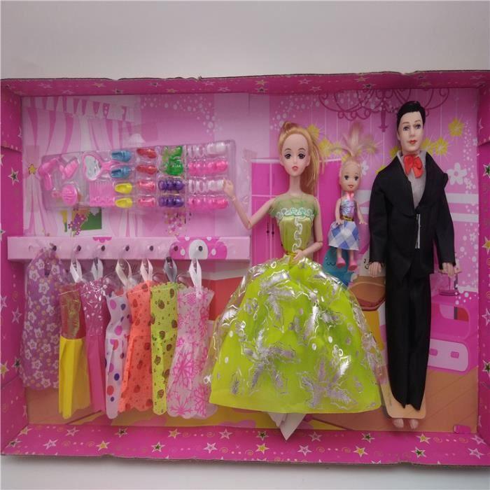 Barbie Famille  Poupée Barbie Père + mère + Fille+jupes et