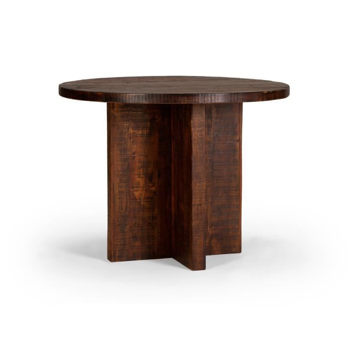 Table ronde insia 100cm en acacia massif marron achat vente table de cuis - Meuble en acacia massif ...