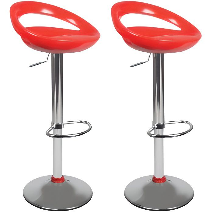 Tabourets de bar moderne rouge comet lot de 2 achat for Tabouret de cuisine rouge