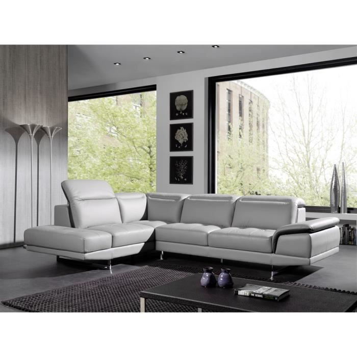canap d 39 angle gauche switluxe pacific cuir gris achat vente canap sofa divan cdiscount. Black Bedroom Furniture Sets. Home Design Ideas