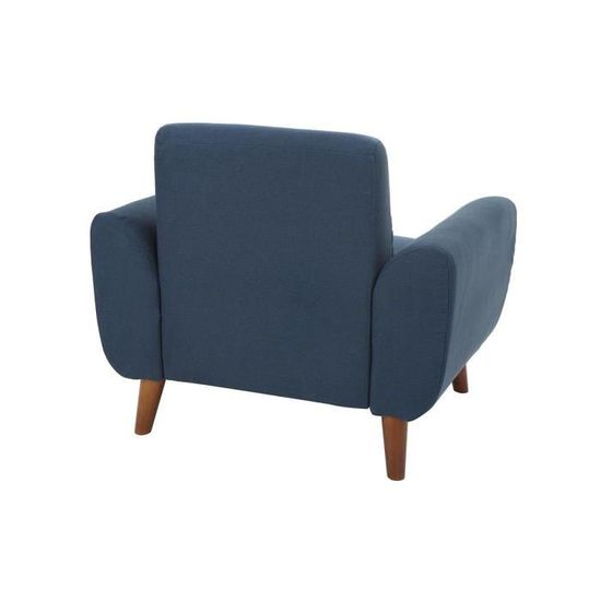 Miliboo Fauteuil Design Tissu Bleu et Pieds Noyer EKTOR