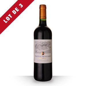 VIN ROUGE Lot de 3 - Château Moncassin Prestige 2016 AOC Buz