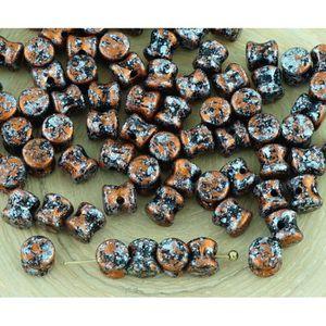 60pcs métallisé Preciosa Pellet Diablo Dogbone Tchèque Perles De Verre 4 mm x 6 mm