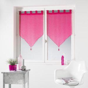 Douceur dInt/érieur Paire Pompon de Voilage Sable Fils Coupes Polyester Frizy Fuchsia 2 x 60 x 90 cm
