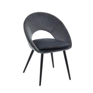 CHAISE Chaise coloris grise vintage en velours et métal -