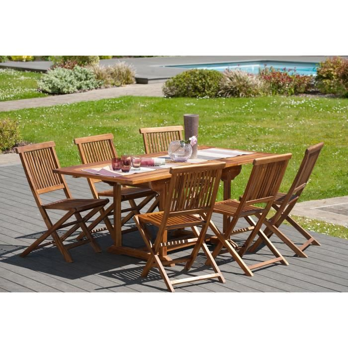 Ensemble en teck huil table extensible de jardin 120 for Ensemble salon bois