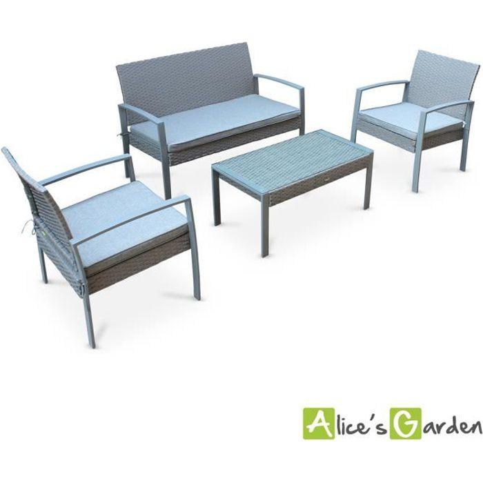 Ensemble de jardin en résine tressée Vicenzo, salon 4 places gris, coussins gris chiné, fauteuil canapé table basse
