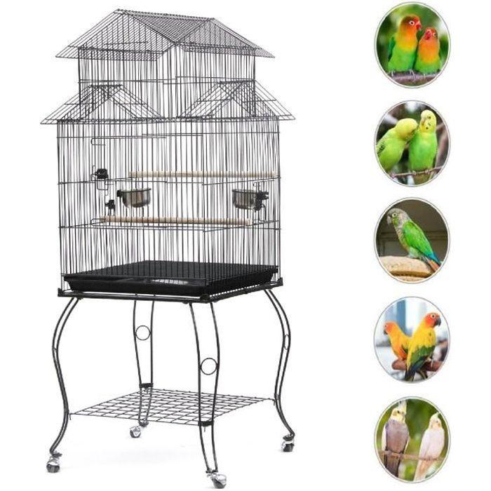 YIS Cage Oiseaux en Métal, Volière à Roulettes pour Canaris Perruches Calopsittes - Exterieur OU Intérieur - 59 x59 x139.5 cm