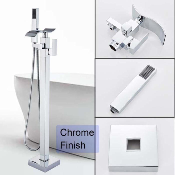 Chrome cascade mural robinet de baignoire sur pied support de plancher robinet baignoire mélangeur robinet bain cascade becs mélange