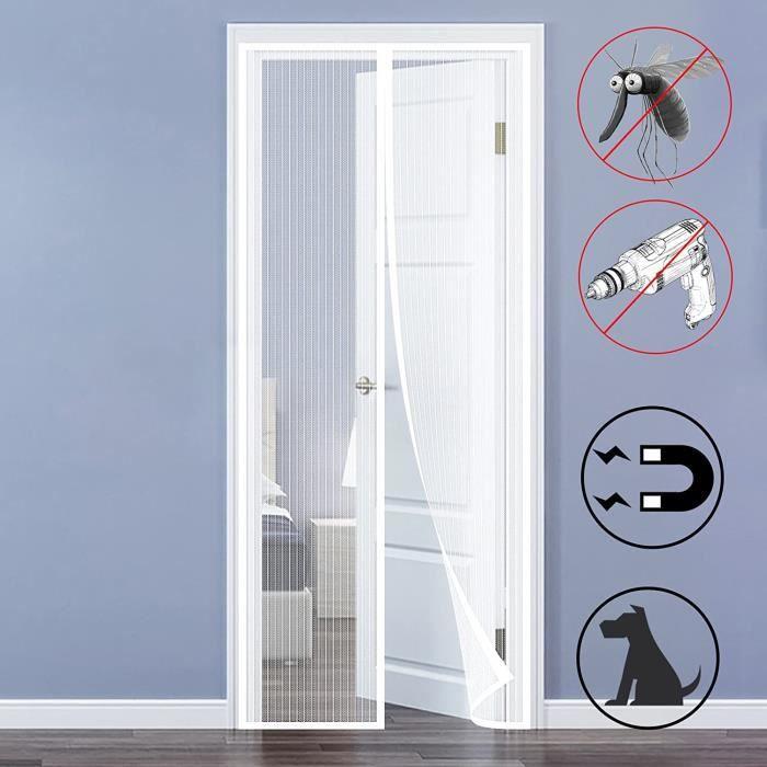 90 x 210cm Porte Moustiquaire, Moustiquaire Magnétique Mailles Ultra Fine Aimants Fermeture Automatique pour Couloirs Portes Patio