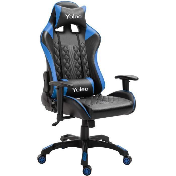 Chaise de Bureau confortable hauteur réglable avec coussins et roulettes - bleu