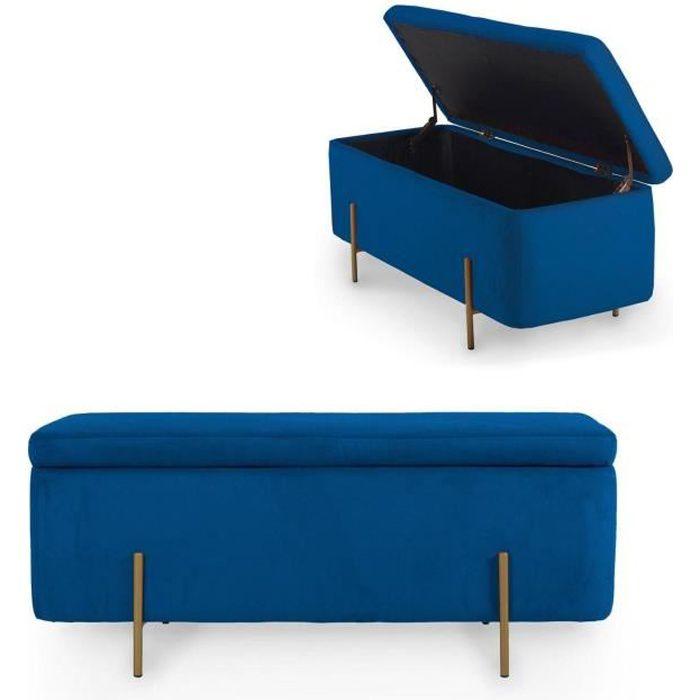 HAYDEN II - Banquette coffre de rangement en velours bleu et pieds dorés