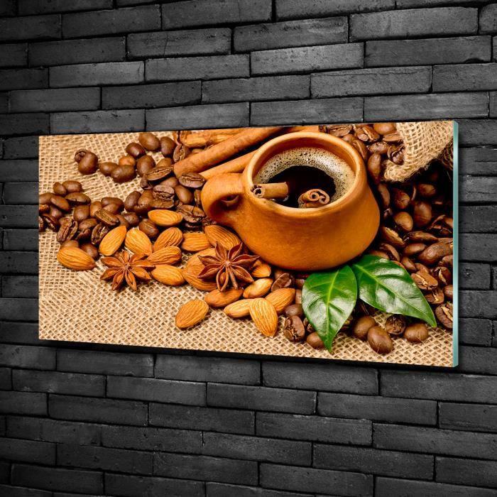 Tulup 100x50cm Tableau sur verre de sécurité:- Nourriture boissons - Grains De Café Une Tasse - Brun Mixte