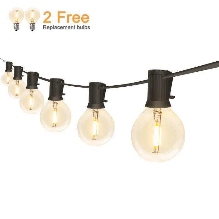 Guirlandes lumineuses extérieures LED étanche IP65 18Ft-25Ft G40 Globe ampoules à - Modèle: 18FT 12LED 220V EU Plug - MILEDCA19953